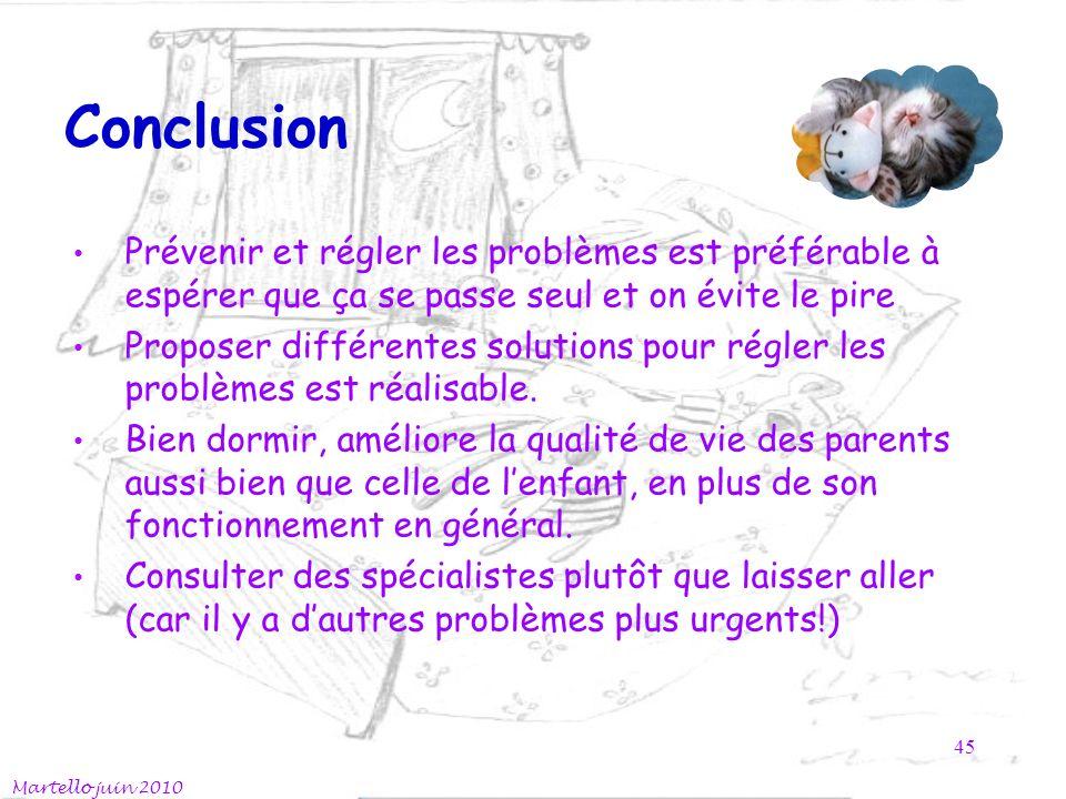 Conclusion Prévenir et régler les problèmes est préférable à espérer que ça se passe seul et on évite le pire Proposer différentes solutions pour régler les problèmes est réalisable.