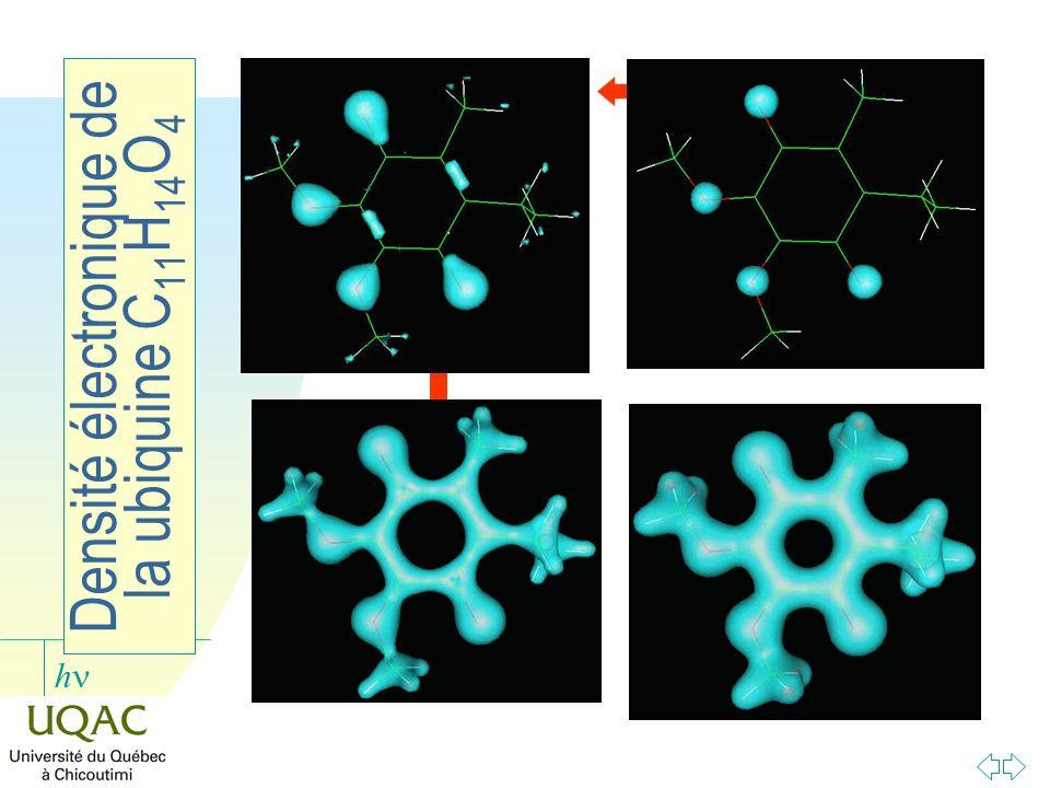 h Densité électronique de la ubiquine C 11 H 14 O 4 densité : 0,1 densité : 0,2 densité : 0,3