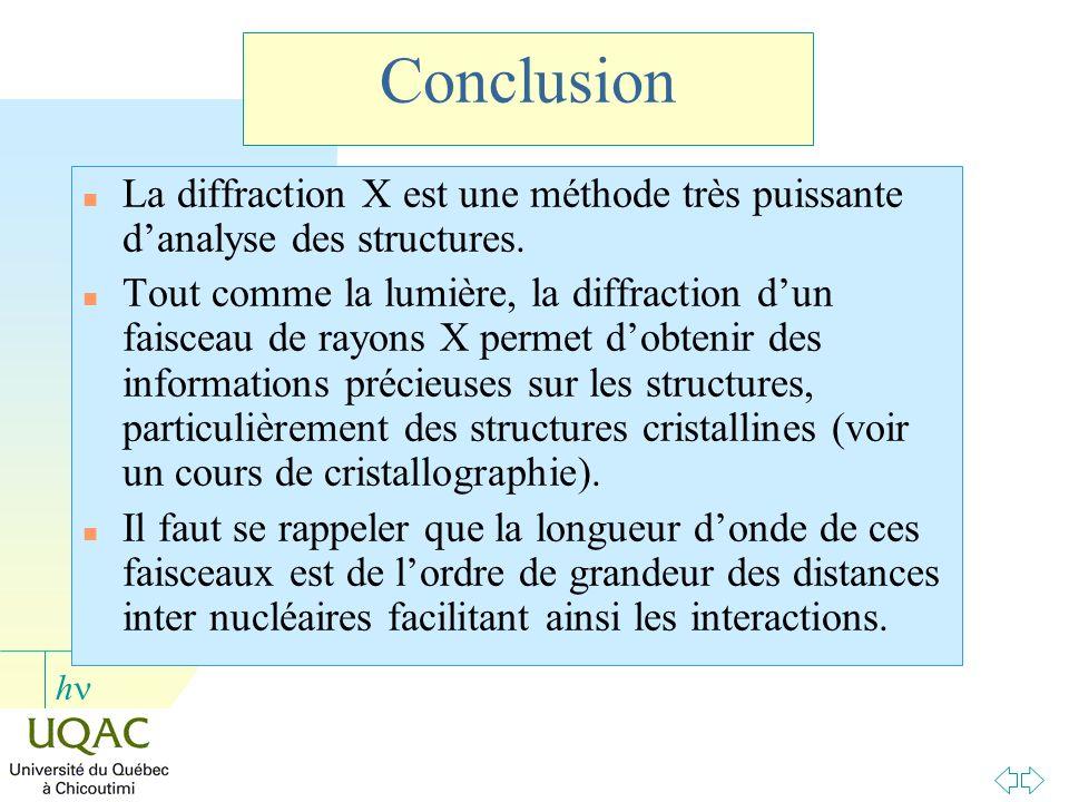 h Conclusion n La diffraction X est une méthode très puissante danalyse des structures. n Tout comme la lumière, la diffraction dun faisceau de rayons
