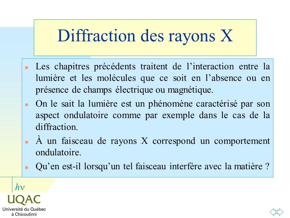 h Diffraction des rayons X n Les chapitres précédents traitent de linteraction entre la lumière et les molécules que ce soit en labsence ou en présenc