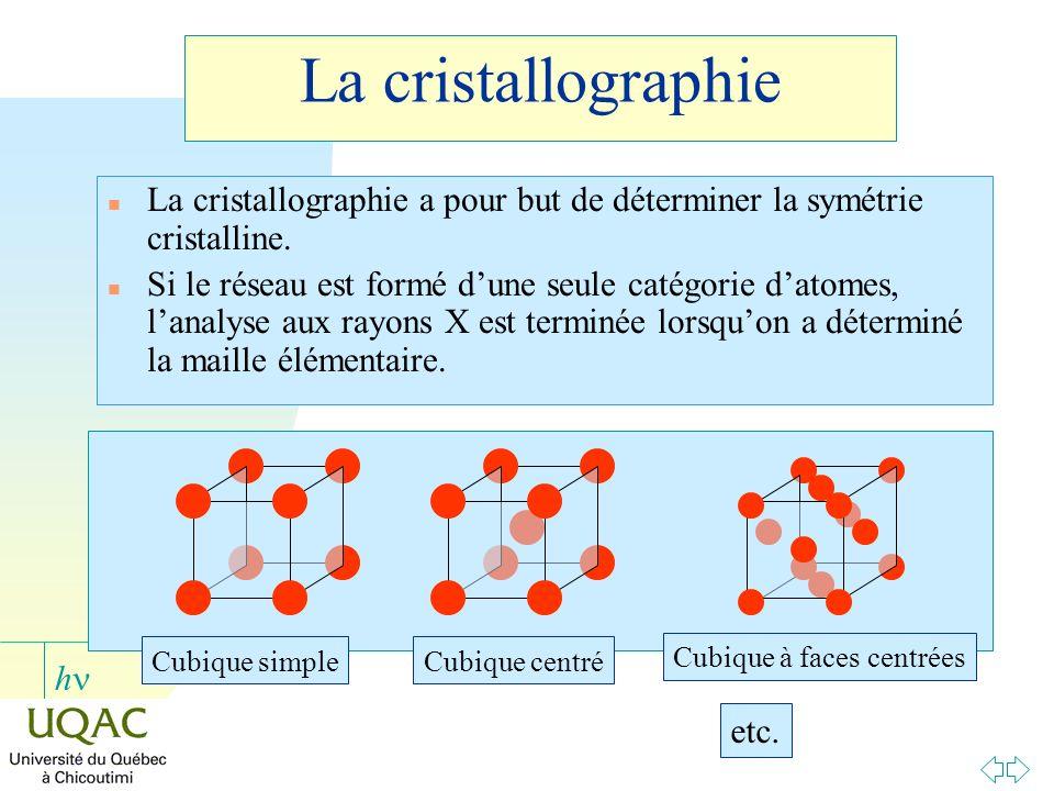h La cristallographie n La cristallographie a pour but de déterminer la symétrie cristalline. n Si le réseau est formé dune seule catégorie datomes, l