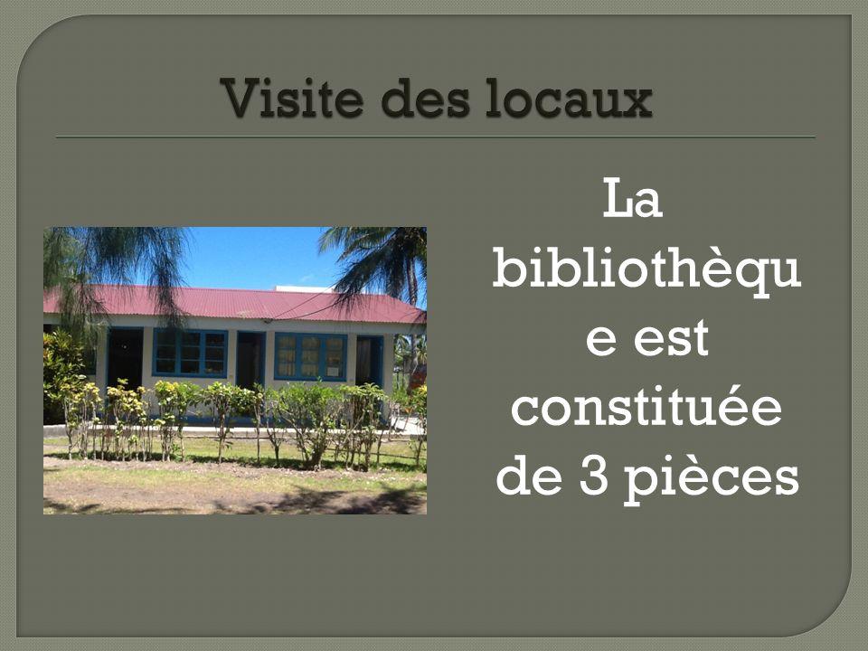 La bibliothèqu e est constituée de 3 pièces