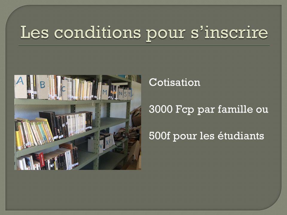 Cotisation 3000 Fcp par famille ou 500f pour les étudiants