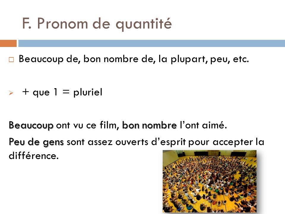 F. Pronom de quantité Beaucoup de, bon nombre de, la plupart, peu, etc. + que 1 = pluriel Beaucoupbon nombre Beaucoup ont vu ce film, bon nombre lont