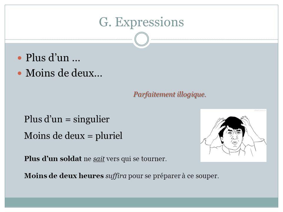 G. Expressions Plus dun … Moins de deux… Parfaitement illogique. Plus dun = singulier Moins de deux = pluriel Plus dun soldat ne sait vers qui se tour