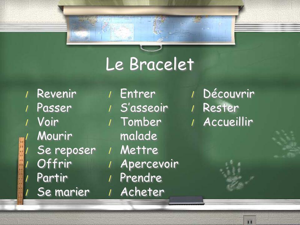 Le Bracelet / Revenir / Passer / Voir / Mourir / Se reposer / Offrir / Partir / Se marier / Entrer / Sasseoir / Tomber malade / Mettre / Apercevoir / Prendre / Acheter / Découvrir / Rester / Accueillir / Revenir / Passer / Voir / Mourir / Se reposer / Offrir / Partir / Se marier / Entrer / Sasseoir / Tomber malade / Mettre / Apercevoir / Prendre / Acheter / Découvrir / Rester / Accueillir
