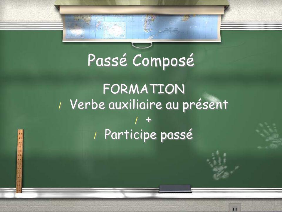 Passé Composé FORMATION / Verbe auxiliaire au présent / + / Participe passé FORMATION / Verbe auxiliaire au présent /+/+ / Participe passé