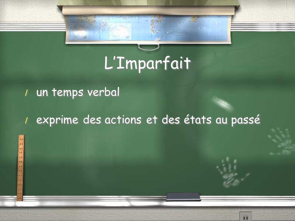 LImparfait / un temps verbal / exprime des actions et des états au passé / un temps verbal / exprime des actions et des états au passé