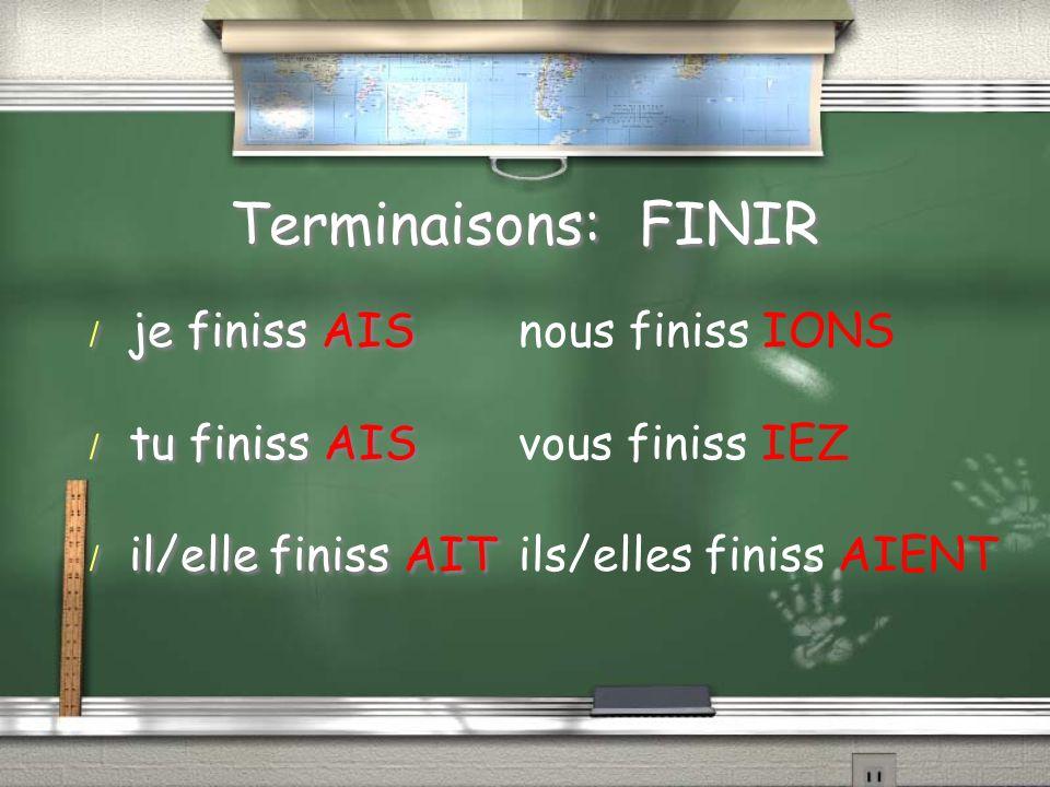 Terminaisons: FINIR / je finiss AIS / tu finiss AIS / il/elle finiss AIT / je finiss AIS / tu finiss AIS / il/elle finiss AIT nous finiss IONS vous fi