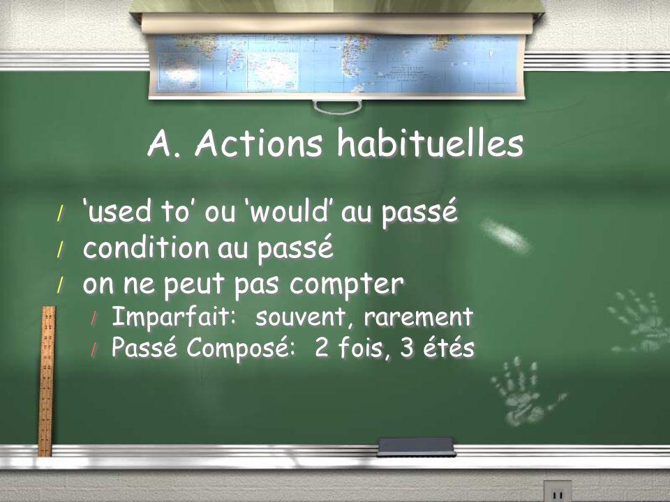A. Actions habituelles / used to ou would au passé / condition au passé / on ne peut pas compter / Imparfait: souvent, rarement / Passé Composé: 2 foi