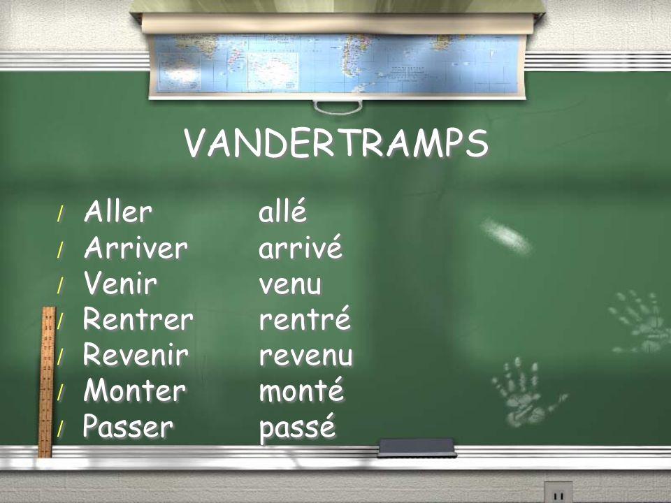 VANDERTRAMPS / Allerallé / Arriverarrivé / Venirvenu / Rentrerrentré / Revenirrevenu / Montermonté / Passerpassé / Allerallé / Arriverarrivé / Venirve