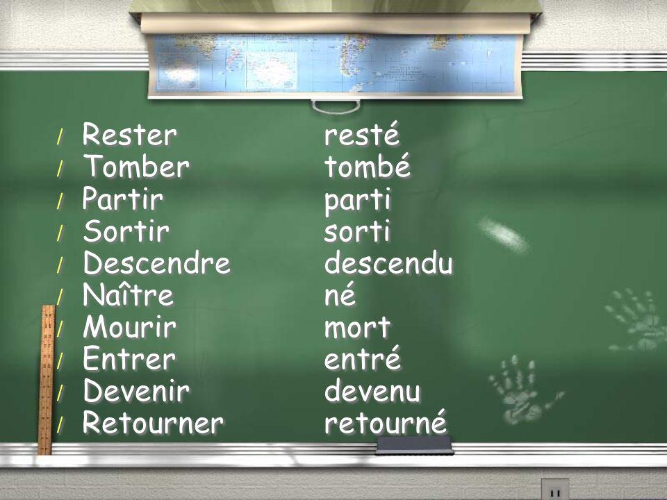 / Resterresté / Tombertombé / Partirparti / Sortirsorti / Descendredescendu / Naîtrené / Mourirmort / Entrerentré / Devenirdevenu / Retournerretourné
