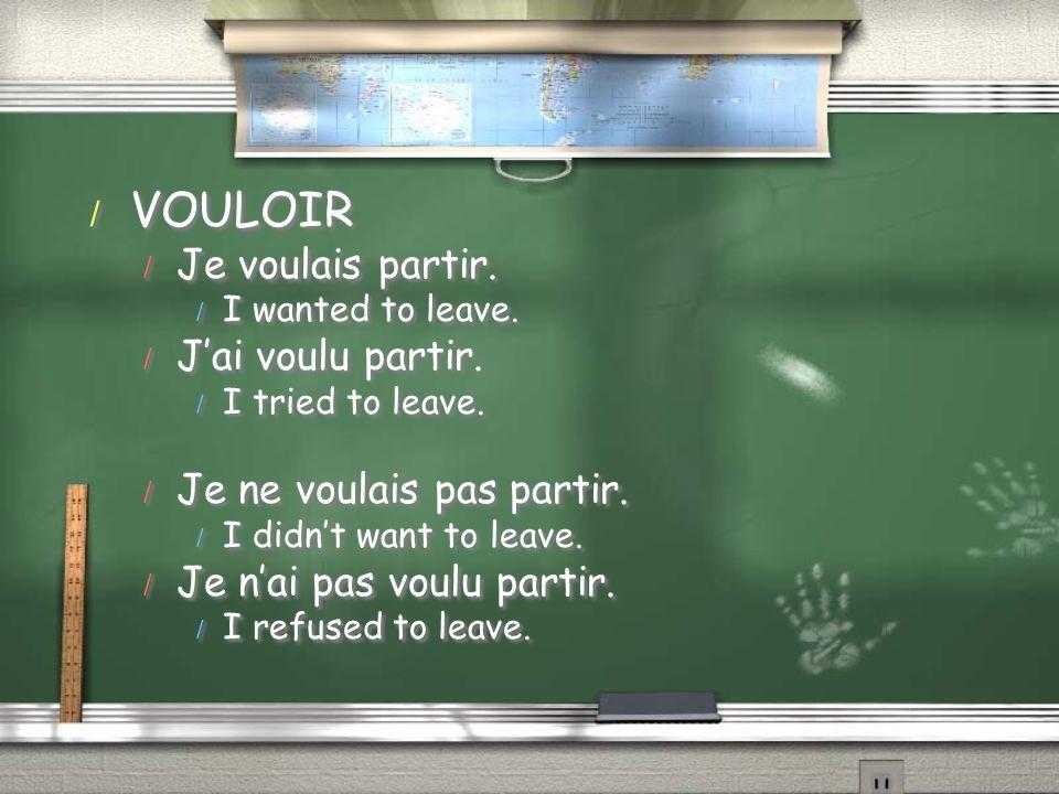 / VOULOIR / Je voulais partir. / I wanted to leave. / Jai voulu partir. / I tried to leave. / Je ne voulais pas partir. / I didnt want to leave. / Je