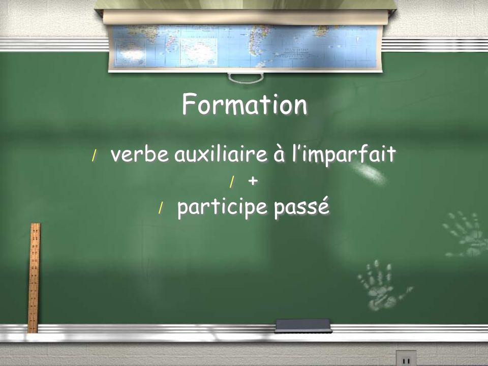 Formation / verbe auxiliaire à limparfait / + / participe passé / verbe auxiliaire à limparfait / + / participe passé
