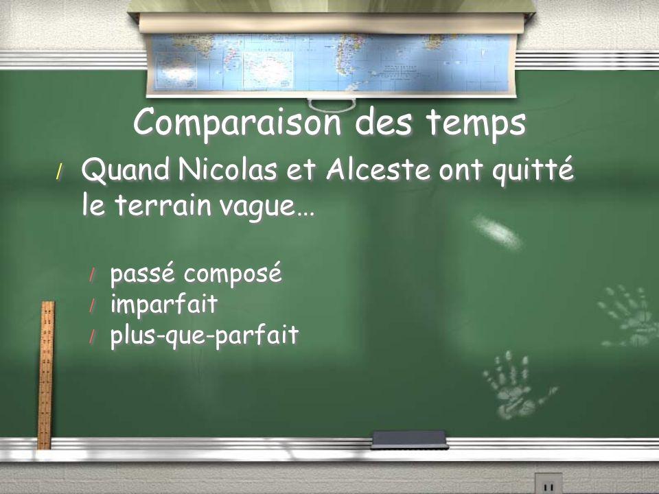 Comparaison des temps / Quand Nicolas et Alceste ont quitté le terrain vague… / passé composé / imparfait / plus-que-parfait / Quand Nicolas et Alcest