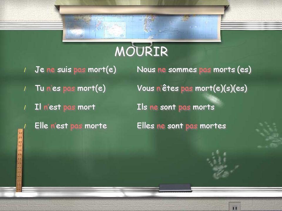 MOURIR / Je ne suis pas mort(e)Nous ne sommes pas morts (es) / Tu nes pas mort(e)Vous nêtes pas mort(e)(s)(es) / Il nest pas mortIls ne sont pas morts