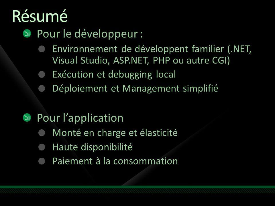 Résumé Pour le développeur : Environnement de développent familier (.NET, Visual Studio, ASP.NET, PHP ou autre CGI) Exécution et debugging local Déplo