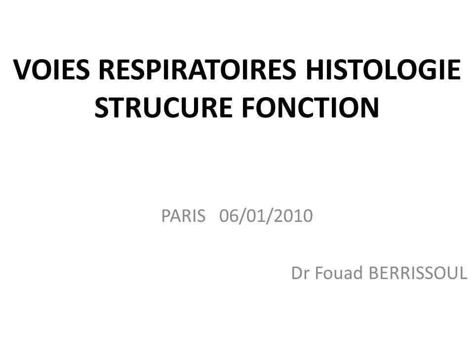 VOIES RESPIRATOIRES HISTOLOGIE STRUCURE FONCTION PARIS 06/01/2010 Dr Fouad BERRISSOUL