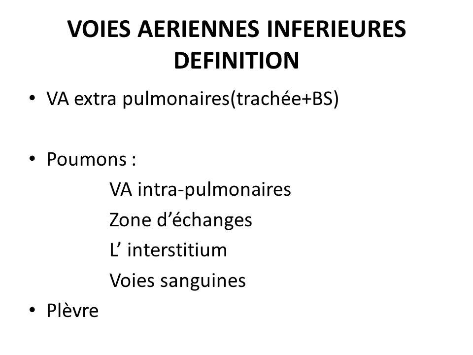 VOIES AERIENNES INFERIEURES DEFINITION VA extra pulmonaires(trachée+BS) Poumons : VA intra-pulmonaires Zone déchanges L interstitium Voies sanguines P