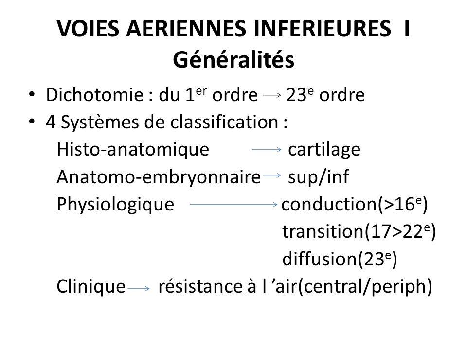 VOIES AERIENNES INFERIEURES I Généralités Dichotomie : du 1 er ordre 23 e ordre 4 Systèmes de classification : Histo-anatomique cartilage Anatomo-embr