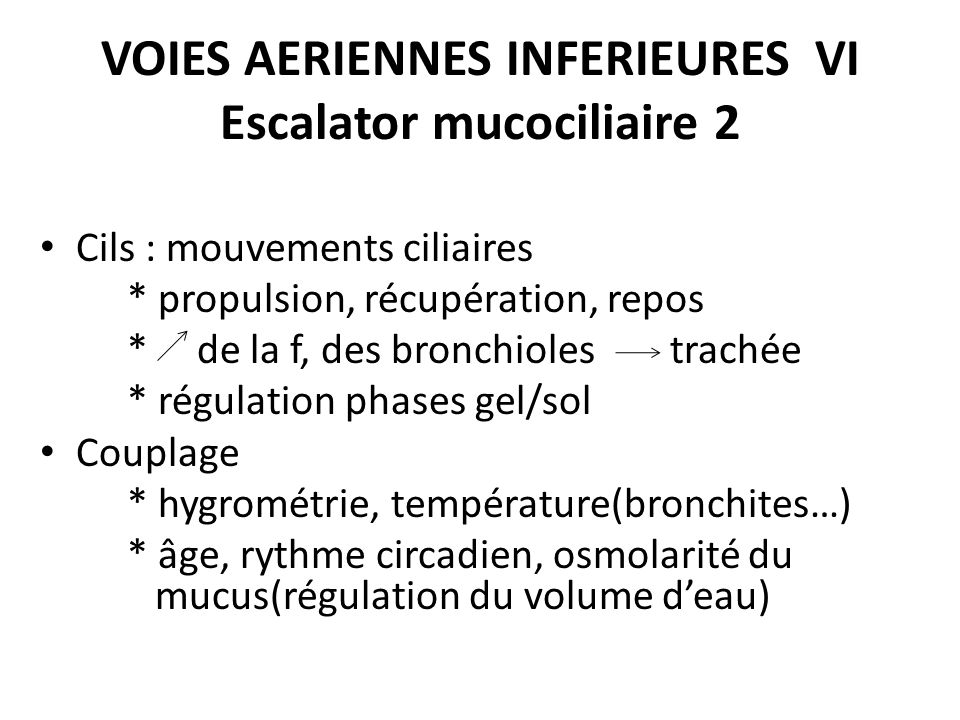 VOIES AERIENNES INFERIEURES VI Escalator mucociliaire 2 Cils : mouvements ciliaires * propulsion, récupération, repos * de la f, des bronchioles trach
