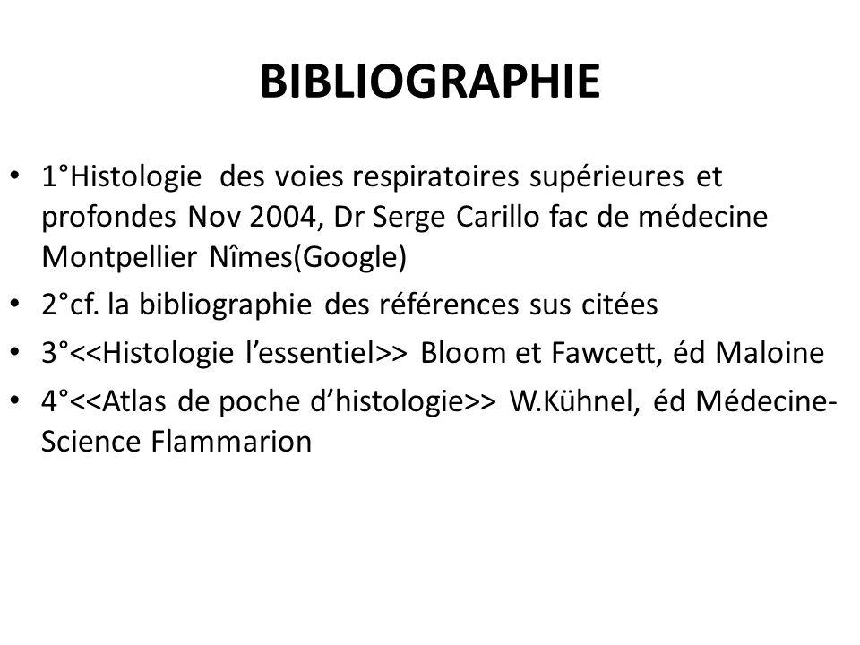 BIBLIOGRAPHIE 1°Histologie des voies respiratoires supérieures et profondes Nov 2004, Dr Serge Carillo fac de médecine Montpellier Nîmes(Google) 2°cf.