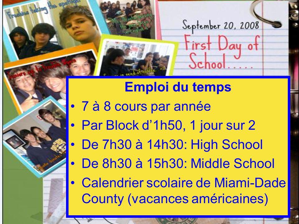 Emploi du temps 7 à 8 cours par année Par Block d1h50, 1 jour sur 2 De 7h30 à 14h30: High School De 8h30 à 15h30: Middle School Calendrier scolaire de