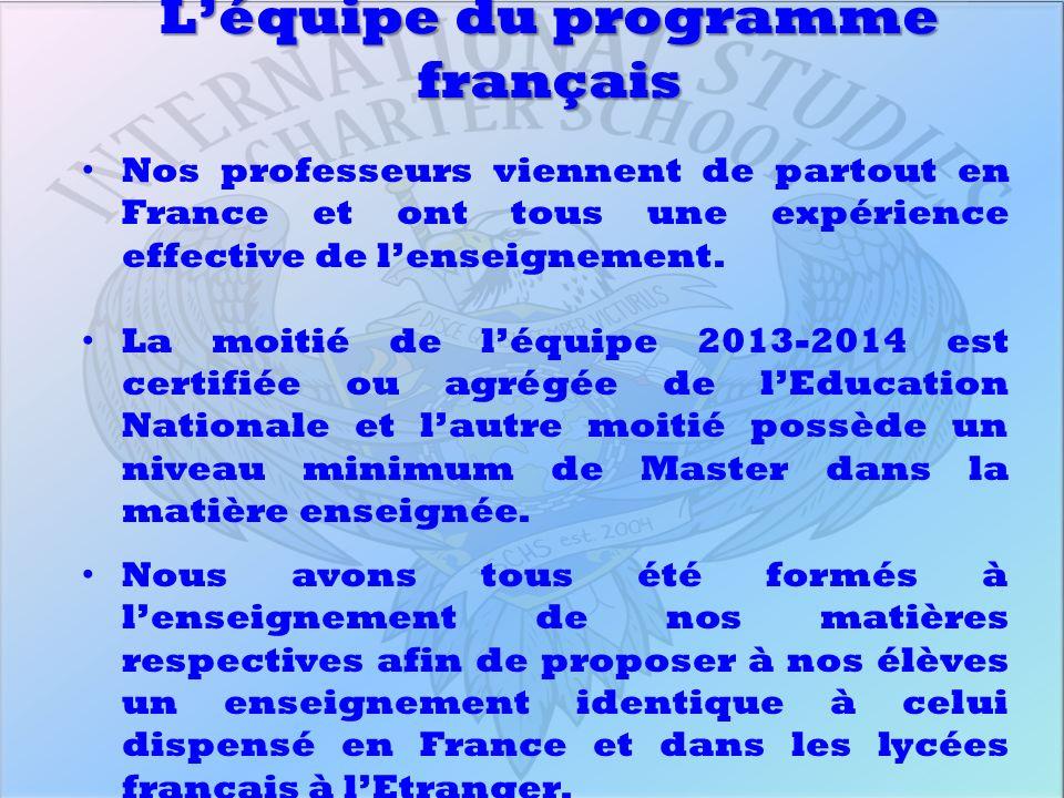 Léquipe du programme français Nos professeurs viennent de partout en France et ont tous une expérience effective de lenseignement. La moitié de léquip