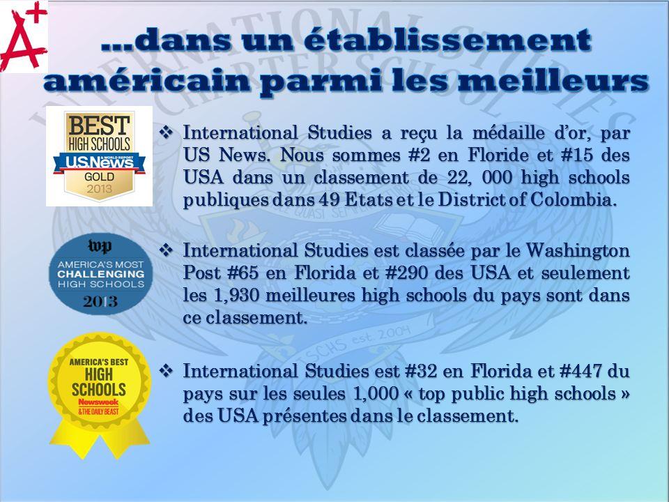 International Studies a reçu la médaille dor, par US News. Nous sommes #2 en Floride et #15 des USA dans un classement de 22, 000 high schools publiqu