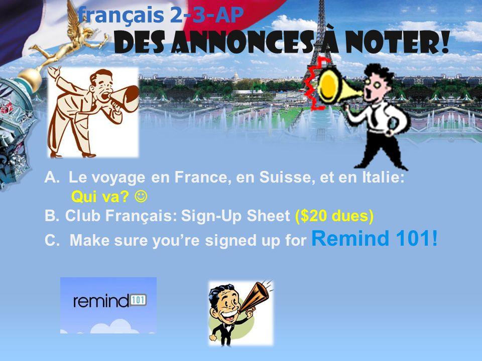 français 3 le 7-8 octobre 2013 Activités (Avec le partenaire donné!)Classeur I.