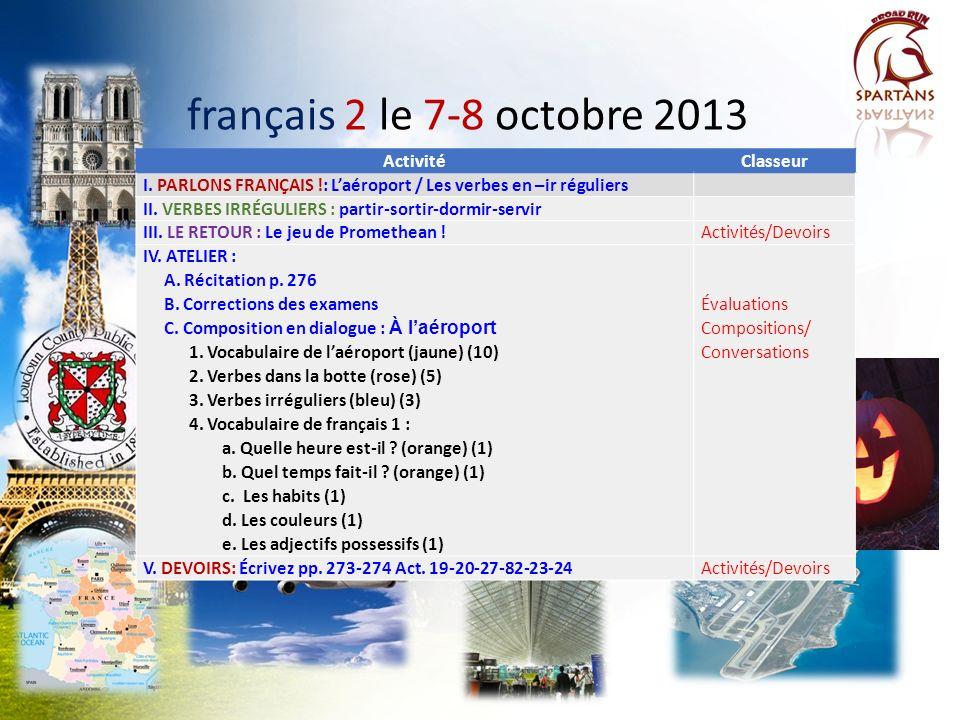 français 2 PARLONS .: Laéroport et les verbes en -ir 1.