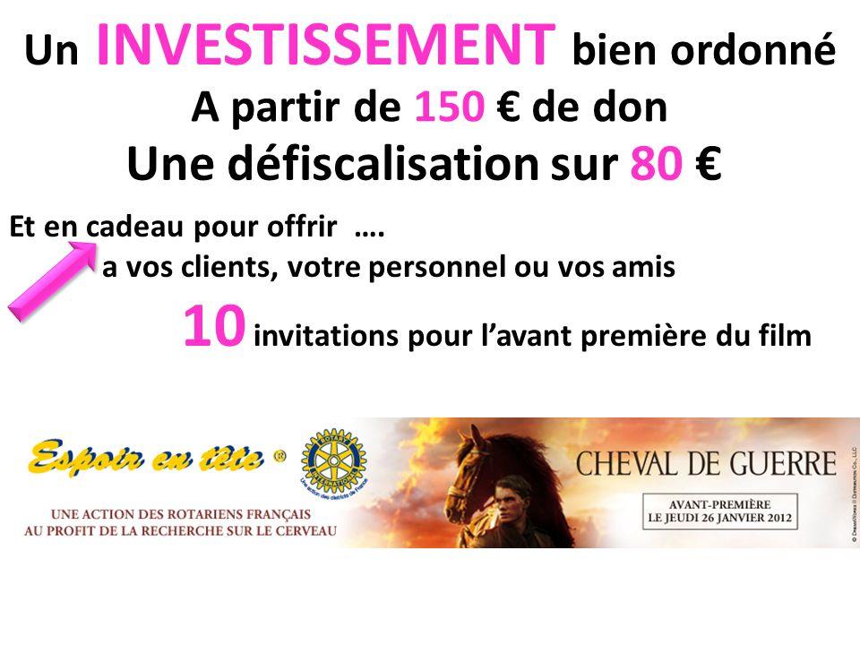 Un INVESTISSEMENT bien ordonné A partir de 150 de don Une défiscalisation sur 80 Et en cadeau pour offrir ….