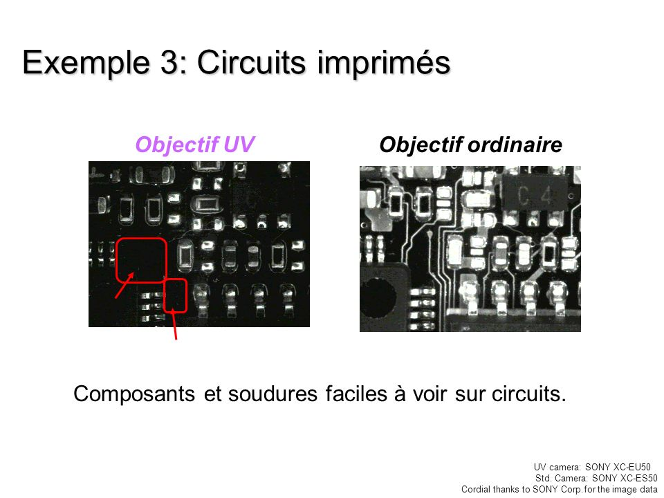 Exemple 3: Circuits imprimés Composants et soudures faciles à voir sur circuits. Objectif UVObjectif ordinaire UV camera: SONY XC-EU50 Std. Camera: SO