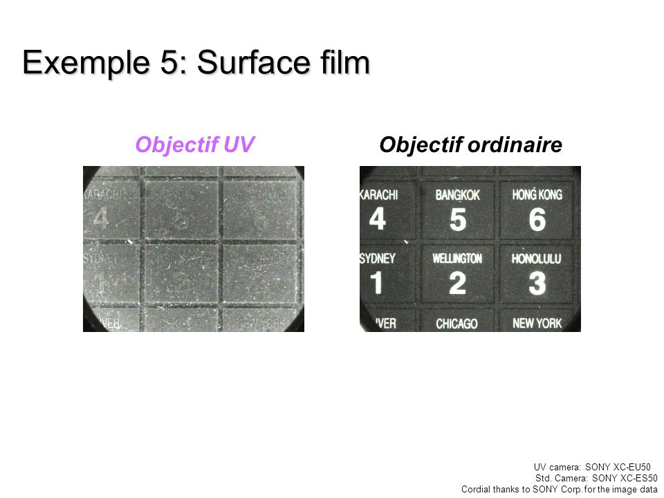 Exemple 5: Surface film Objectif UVObjectif ordinaire UV camera: SONY XC-EU50 Std. Camera: SONY XC-ES50 Cordial thanks to SONY Corp.for the image data