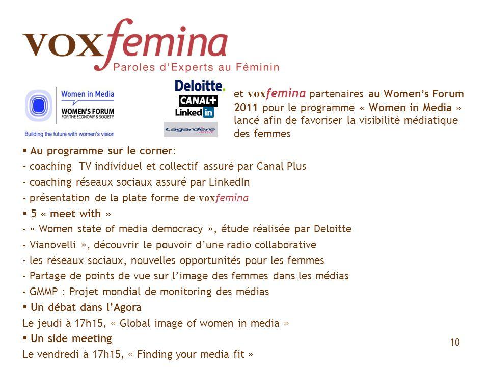 10 et vox femina partenaires au Womens Forum 2011 pour le programme « Women in Media » lancé afin de favoriser la visibilité médiatique des femmes Au