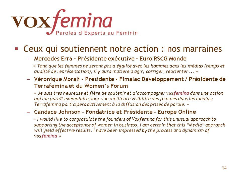 Ceux qui soutiennent notre action : nos marraines – Mercedes Erra - Présidente exécutive - Euro RSCG Monde « Tant que les femmes ne seront pas à égali