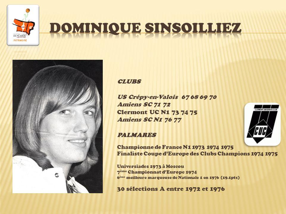 CLUBS AS Rully (Oise) INS Vincennes Avignon N2 81 Stade Français N1 82 83 84 (16.4pts) 85 (16.9pts) Stade Français-Versailles N1 86 Aix-en-Provence N1 87 88 Stade Français-Versailles N1 89 ASPTT Lyon N1 90 Challes-les-Eaux N1 93 Rambouillet 1B 94 Istres 1B 95-96 PALMARES 8 ème Championnat d Europe Seniors 1985 8 ème Championnat d Europe Seniors 1989 Championne de France 1983, 1984, 1985, 1986, 1993 Final Four Coupe d Europe des Clubs Champions 1993 109 sélections entre 1981 et 1989, 692 pts.