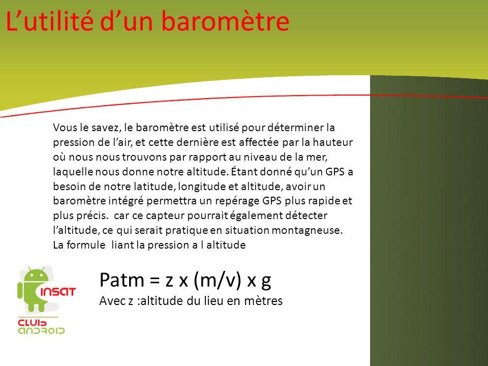 Lutilité dun baromètre Vous le savez, le baromètre est utilisé pour déterminer la pression de lair, et cette dernière est affectée par la hauteur où n