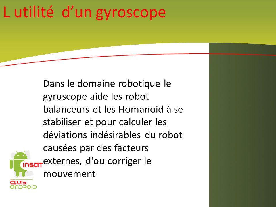 Dans le domaine robotique le gyroscope aide les robot balanceurs et les Homanoid à se stabiliser et pour calculer les déviations indésirables du robot