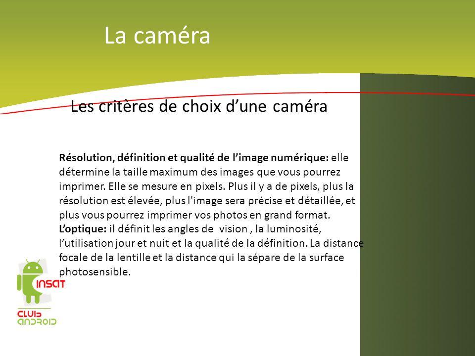 La caméra Les critères de choix dune caméra Résolution, définition et qualité de limage numérique: elle détermine la taille maximum des images que vou