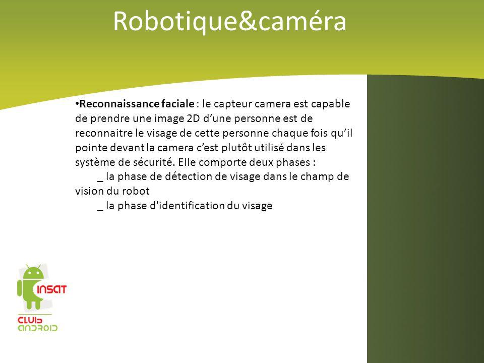 Robotique&caméra Reconnaissance faciale : le capteur camera est capable de prendre une image 2D dune personne est de reconnaitre le visage de cette pe