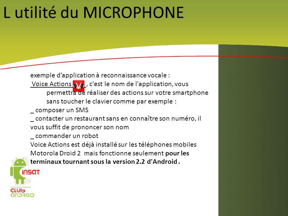 L utilité du MICROPHONE exemple dapplication à reconnaissance vocale : Voice Actions, c'est le nom de l'application, vous permettra de réaliser des ac