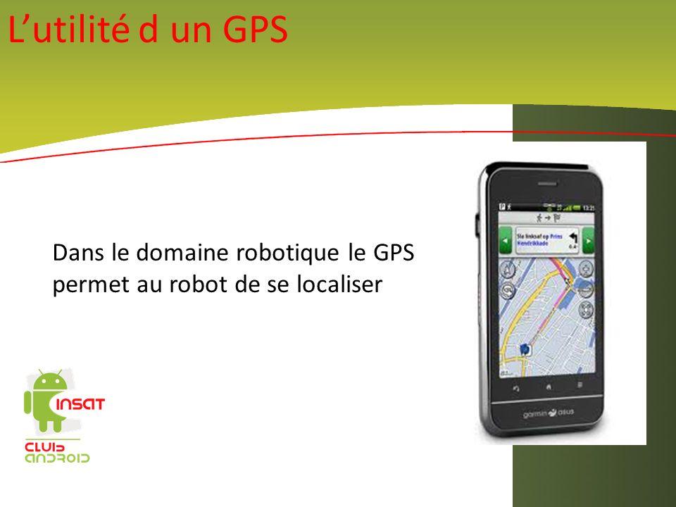 Lutilité d un GPS Dans le domaine robotique le GPS permet au robot de se localiser