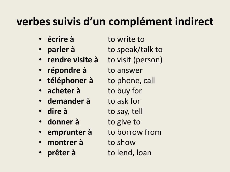 verbes suivis dun complément indirect écrire àto write to parler àto speak/talk to rendre visite àto visit (person) répondre àto answer téléphoner àto