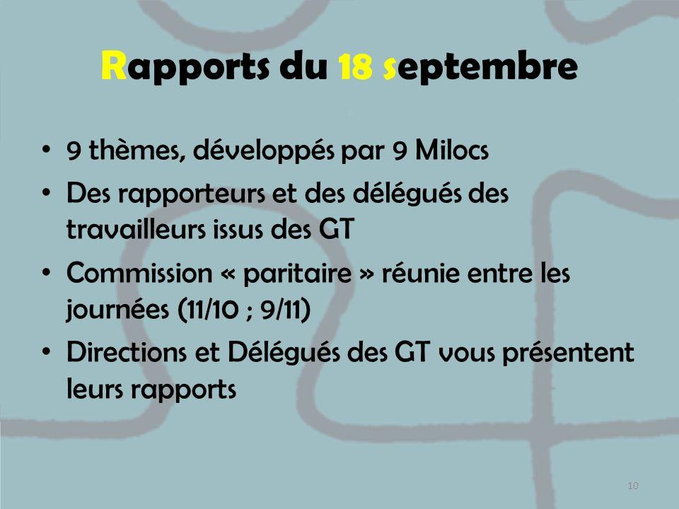 Rapports du 18 septembre 9 thèmes, développés par 9 Milocs Des rapporteurs et des délégués des travailleurs issus des GT Commission « paritaire » réun