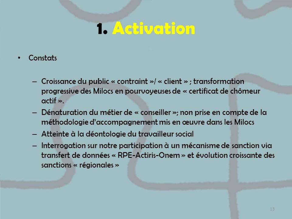 1. Activation Constats – Croissance du public « contraint »/ « client » ; transformation progressive des Milocs en pourvoyeuses de « certificat de chô