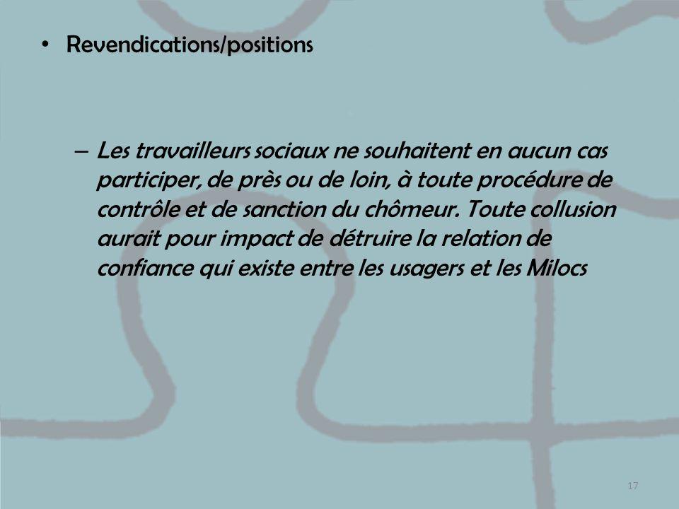 Revendications/positions – Les travailleurs sociaux ne souhaitent en aucun cas participer, de près ou de loin, à toute procédure de contrôle et de san