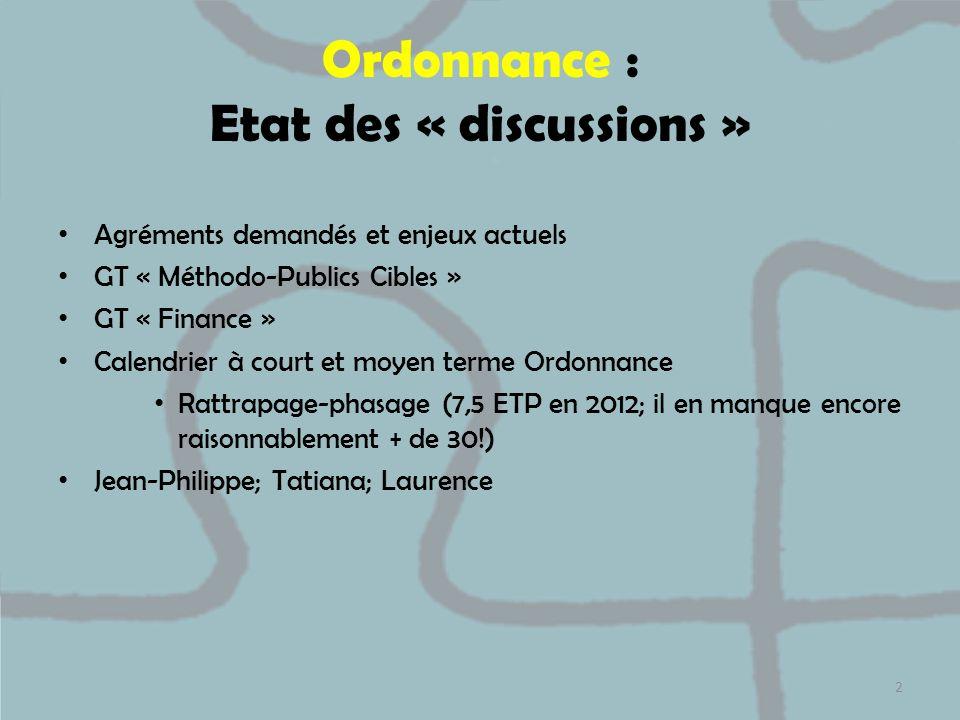 Ordonnance : Etat des « discussions » Agréments demandés et enjeux actuels GT « Méthodo-Publics Cibles » GT « Finance » Calendrier à court et moyen te