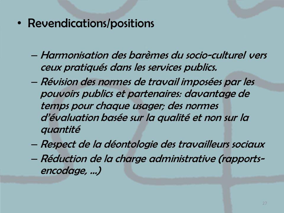 Revendications/positions – Harmonisation des barèmes du socio-culturel vers ceux pratiqués dans les services publics. – Révision des normes de travail
