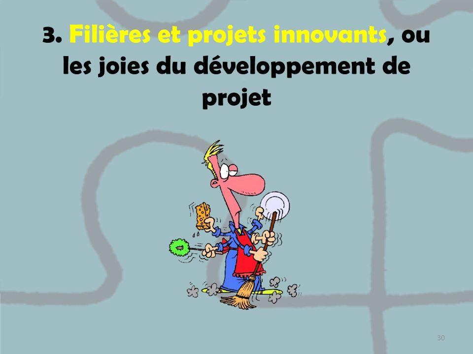 3. Filières et projets innovants, ou les joies du développement de projet 30